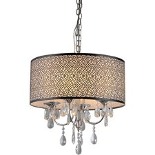 Lush 4 Light Crystal Drum Chandelier
