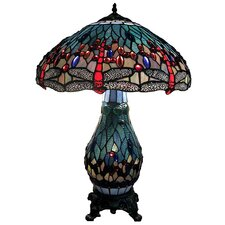 Dragonfly Lighted Base Table Lamp with Bowl Shade