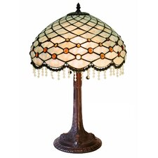 """Simple Hanging Bead 29"""" H Table Lamp with Bowl Shade"""