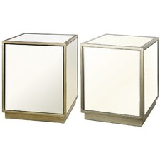 2-Piece Leanne Mirrored End Table Set