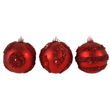 Ball Ornament in Red (Set of 3)