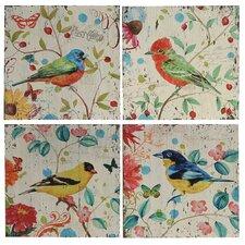 4 Piece Painting Print of Birds on Canvas Set