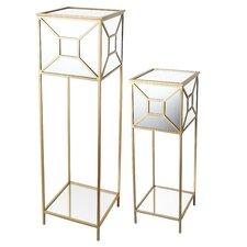 City Chic 2 Piece Mirrored Pedestal Plant Stand Set