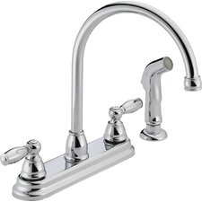 Two Handle Centerset Kitchen Faucet with Side Spray