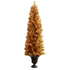 6' Slim Christmas Tree with 100 Lights and Urn