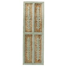 Wood Carved Panel with Metal Accent Wall Decor