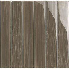 """Brushstrokes 2"""" x 12"""" Glass Mosaic Tile in Brown"""