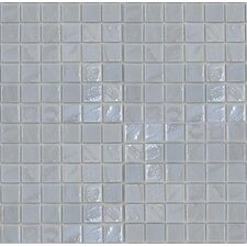 "Gemstonez Chalcedony 1"" x 1"" Glass Mosaic Tile in White"