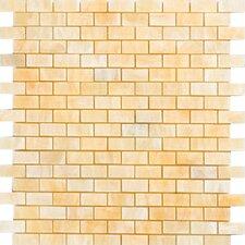 "0.63"" x 1.25"" Onyx Mosaic Tile in Honey"