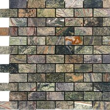 "1"" x 2"" Marble Mosaic Tile in Rain Forest Green"
