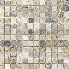 """1"""" x 1"""" Travertine Mosaic Tile in Silver"""