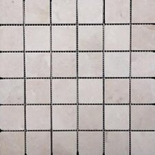 "2"" x 2"" Travertine Mosaic Tile in Ivory"