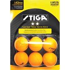 Two-Star Orange Table Tennis Ball (Pack of 6) (Set of 2)