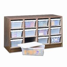 Modular Wood/Plastic 12-Bin Supplies Organizer