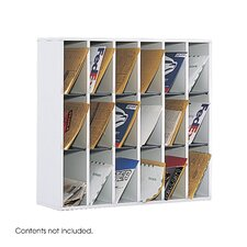 Wood Mail Sorter with Adjustable Dividers, 18 Compartments