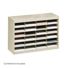 Steel Literature Organizer with 24 Letter-Size Compartments