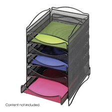 Onyx Five Drawer Mesh Literature Organizer in Black