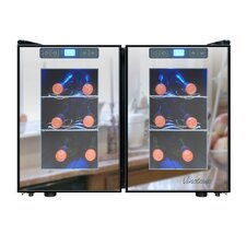 Mirrored 12 Bottle Dual Zone Freestanding Wine Refrigerator