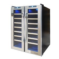 Mirrored 48 Bottle Dual Zone Freestanding Wine Refrigerator