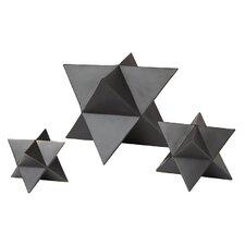 3 Piece Star Matte Black Decorative Objet Set