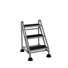 3-Step Steel Rolling Step Stool with 300 lb. Load Capacity