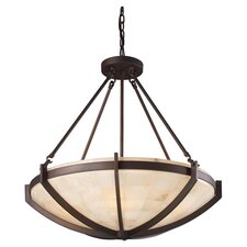 Spanish Mosaic 6 Light Squared Design Chandelier