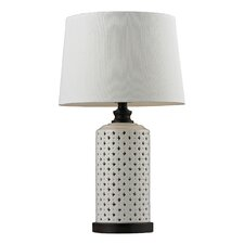 """Open Work Ceramic 23"""" H Table Lamp with Empire Shade"""
