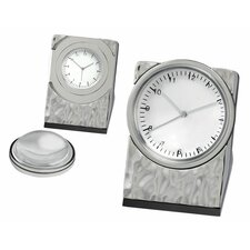Silver Hammered Clock with Magnifier