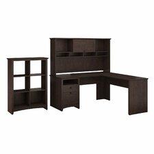 Buena Vista Executive Corner Desk with Hutch & 6 Slot Bookcase