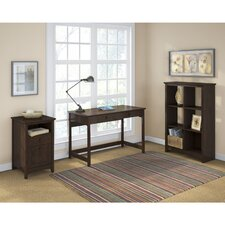 Buena Vista Computer Desk with 6 Cube Bookcase and 2 Drawer Pedestal
