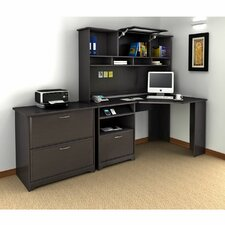 Cabot Corner Executive Desk with Hutch & Lateral File