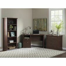 Yorktown Single Pedestal Desk with Bookcase and Lateral File