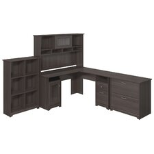 Cabot L-Shape Desk with Hutch, 6 Cube Bookcase and Lateral File
