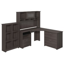 Cabot Corner Desk with Hutch, Lateral File and 6 Cube Bookcase