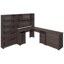 Cabot L-Shape Desk with Hutch, Lateral File and 5 Shelf Bookcase