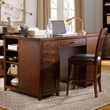 Wendover Computer Desk with 1 Drawer and 1 Bookcase Pedestal