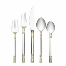 Sterling Silver Aegean Weave Gold Accent 5 Piece Flatware Set