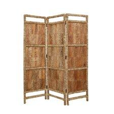 "72"" x 60"" Coconut Fabric 3 Panel Room Divider"