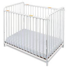 Chelsea Euro Slatted Mini Non-folding Convertible Crib with Mattress