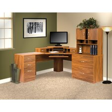 Office Adaptations Computer Desk with Hutches