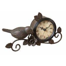 Haven Bird and Flower Metal Mantle Clock