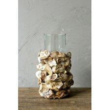 Waterside Oyster Shell and Glass Pillar Candlestick