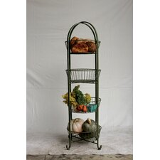 Casual Country Metal 4 Tier Basket Shelf