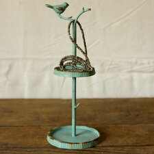 Cottage Pewter Wall Mounted Jewelry Holder with Bird
