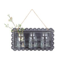 Casual Country Tin Wall Decor with Glass Vase
