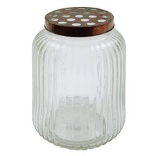 Casual Country Round Glass Jar with Metal Flower Lid
