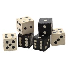 Turn of the Century Square Hand Carved Mango Wood Dice (Set of 6)