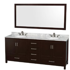 "Sheffield 80"" Double Bathroom Vanity Set with Mirror"
