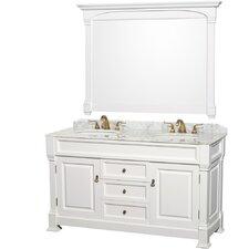 """Andover 60"""" Double Bathroom Vanity Set with Mirror"""