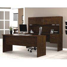 Harmony U-Shape Computer Desk with Hutch